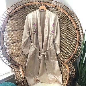 Vintage Gold Rose Embroidered Silky Kimono/Robe